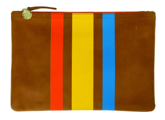 http://www.clarevivier.com/products/flat-clutch#Caramel-Tangerine-Yellow-Blue-Stripes-Flat-Clutch